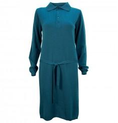 Платье с воротом поло и поясом
