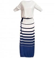 Платье удлиненное с круглым вырезом с рисунком полоса