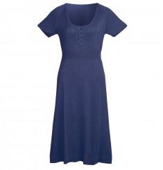 Платье с глубоким круглым вырезом, коротким рукавом и завышенной талией