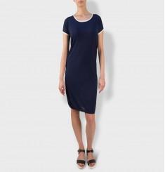 Платье с круглым вырезом и спущенным плечом