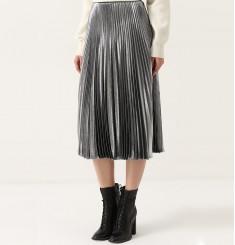 Плиссированная шелковая юбка с металлизированной отделкой