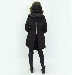 Пуховое пальто c оторочкой из меха