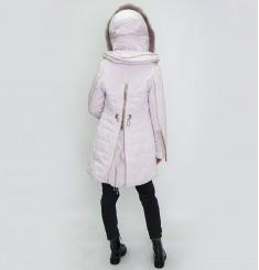 Пуховое пальто с оторочкой из меха песца