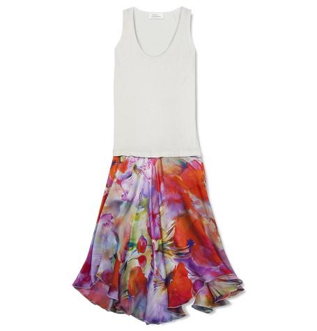 Платье комбинированное шёлк/кашемир