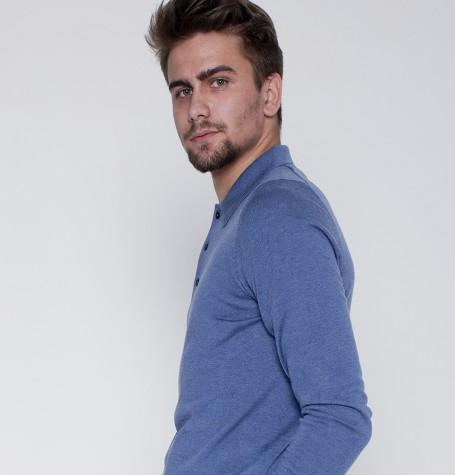 Поло, Италия, шёлк/шерсть, цвет джинсовый