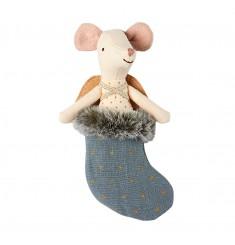 Мышка Ангел в рождественском голубом носке