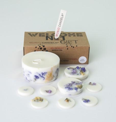 """""""Полевые цветы"""" АРОМАнабор: свеча + лепестки соевый воск, натуральные цветы и эфирные масла, хлопковый фитиль"""