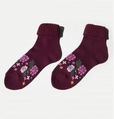Носки бордовые с цветами