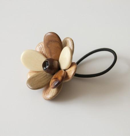 """Резинка для волос деревянная """"Цветок"""""""
