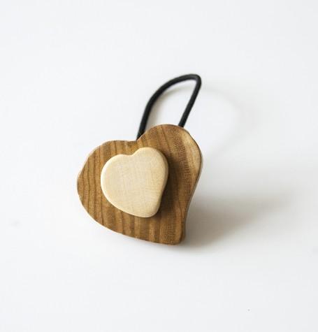 """Резинка для волос деревянная """"Сердце"""""""