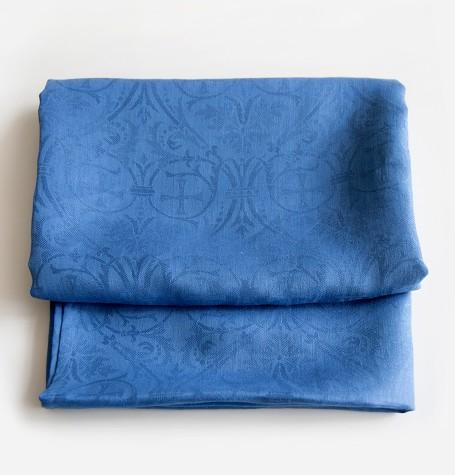 Скатерть синяя льняная