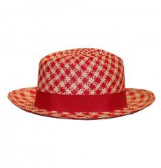 Шляпа-панама ''Федора'' мелкая клетка