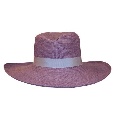 Шляпа-панама ''Федора'' с изогнутыми полями и серебряной лентой